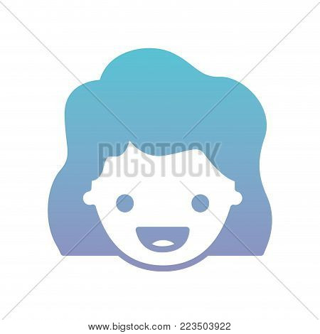 people graphic face of girl with wavy hair in degraded blue to purple color silhouette vector illustration