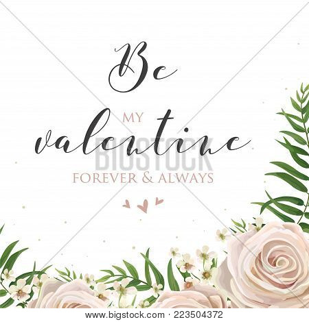 Floral watercolor style card design with pink, creamy white garden rose, wax flowers, green tropical palm tree leaves greenery frame. Vector elegant Valentines day greeting, invite, postcard template