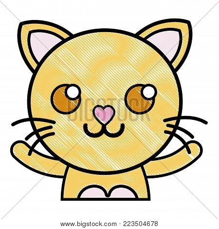 grated smile cat adorable feline animal vector illustration
