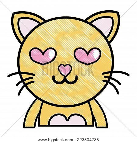 grated enamored cat adorable feline animal vector illustration