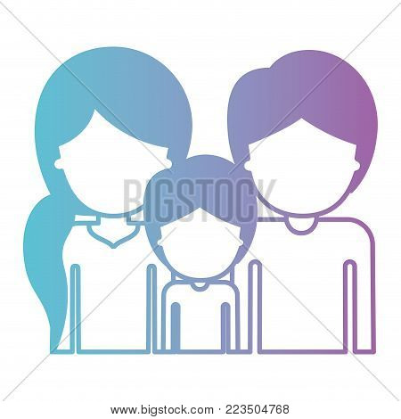half body faceless people with woman with pigtail hairstyle and man and boy both with short hair in degraded blue to purple color silhouette vector illustration