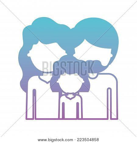 half body faceless people with woman and girl with wavy hair and man with beard in degraded blue to purple color silhouette vector illustration