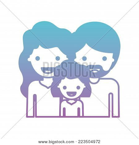 half body people with woman and girl with wavy hair and man with beard in degraded blue to purple color silhouette vector illustration
