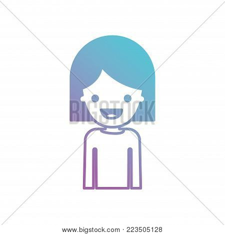 half body people with girl in t-shirt long sleeve and short hair in degraded blue to purple color silhouette vector illustration