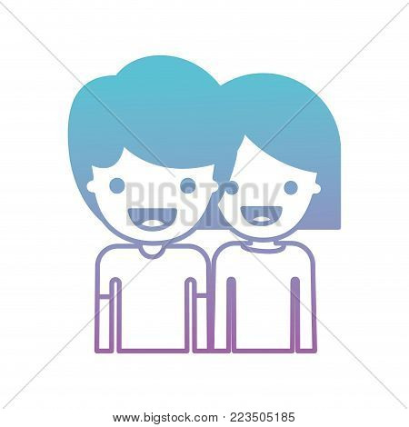 half body people with boy in t-shirt and short hair and girl in t-shirt long sleeve and short hair in degraded blue to purple color silhouette vector illustration