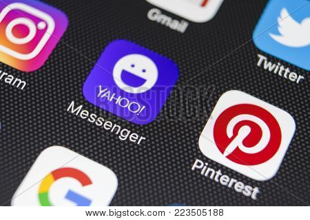 Sankt-Petersburg, Russia, January 24, 2018: Yahoo messenger application icon on Apple iPhone 8 smartphone screen close-up. Yahoo messenger app icon.