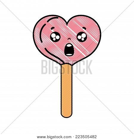 grated surprised heart ice lolly kawaii vector illustration
