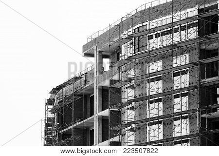 Brick House Construction Site. Building Construction Brick House. Unfinished Home Construction.