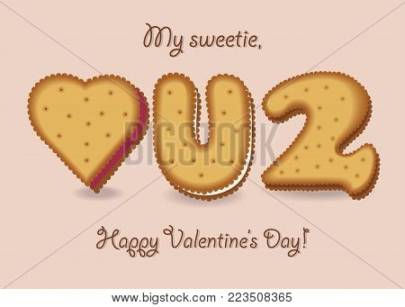 Love you too. Yellow cookies - Heart, letter U and number 2. My sweetie, Happy Valentines Day. Vector Illustration