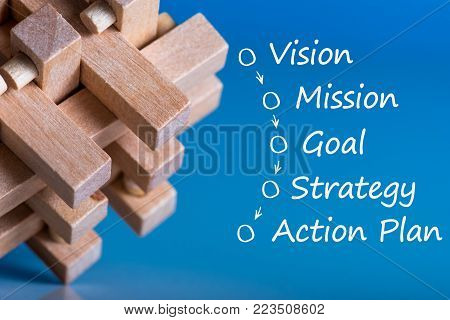 Brain teaser with business process concept - vision - mission - goal - strategy - action plan. On blue background.