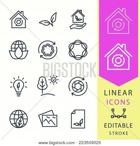 Ecology - line vector icon set. Editable stroke. Eco, ecological house, nature and more.