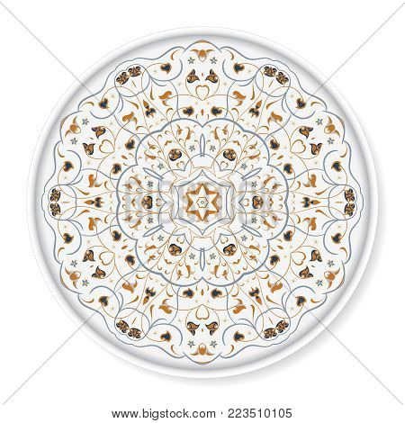 Decorative plate with colored arabic ornament. Home decor background, Interior decoration, kitchen plate. top view. White background.