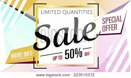Super sale banner in trendy style. Special offer discount poster, up to 50 off message. Retail marketing information, new advertising campaign, holiday shopping, commerce promo vector illustration.