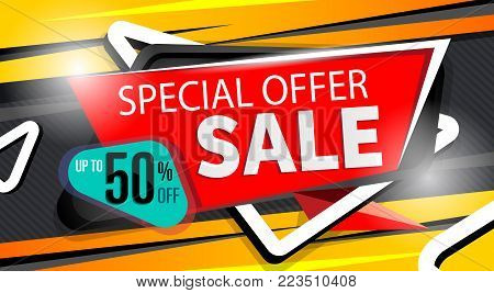 Special offer banner in trendy style. Supermarket sale proposition, up to 50 off message. Retail marketing information, new advertising campaign, holiday shopping, commerce promo vector illustration.