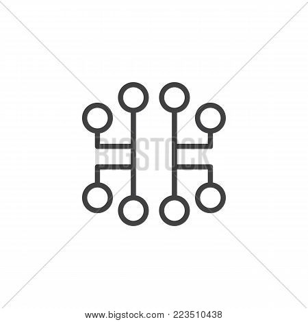 Electronic circuit line icon, outline vector sign, linear style pictogram isolated on white. Symbol, logo illustration. Editable stroke