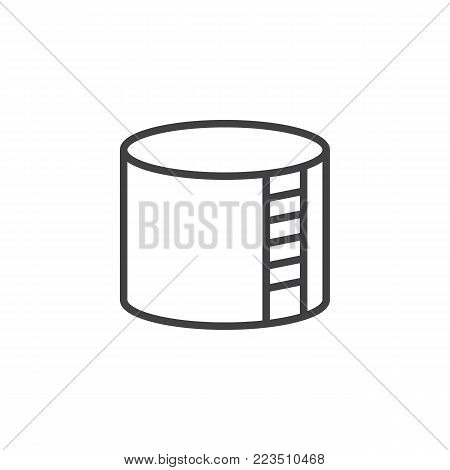 Storage tank line icon, outline vector sign, linear style pictogram isolated on white. Oil terminal symbol, logo illustration. Editable stroke