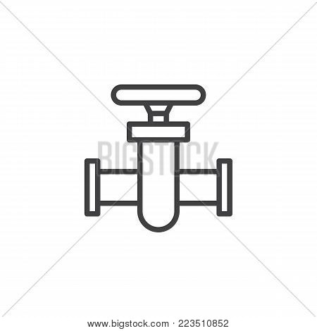 Pipe connector line icon, outline vector sign, linear style pictogram isolated on white. Pipe valve Symbol, logo illustration. Editable stroke