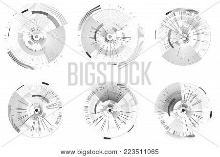 Set of futuristic interface elements. Technology circles. Digital futuristic user interfaces. HUD. Sci fi futuristic templates isolated on white background. Abstract vector illustration.