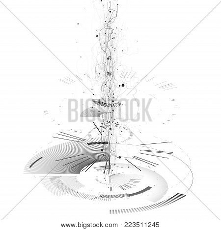 Abstract tech design background. Engineering technology wallpaper made with lines, dots, circles. Futuristic technology interface on white background. Digital technology concept, vector illustration.