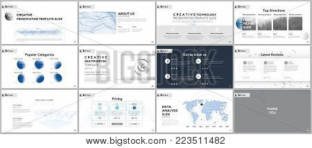Clean and minimal presentation templates. Tech elements on white background. Technology concept vector design. Presentation slides for flyer, leaflet, brochure, report, marketing, advertising, banner