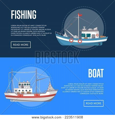 Fishing company flyers with commercial small boats. Fishing trawlers for traditional seafood production vector illustration. Vintage marine flotilla of ships, sea or ocean nautical transportation.
