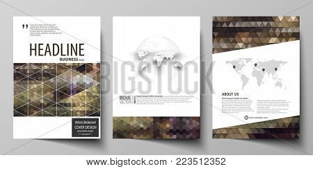 Business templates for brochure, magazine, flyer, booklet or annual report. Cover design template, easy editable vector, abstract flat layout in A4 size. Abstract backgrounds. Geometrical patterns. Triangular and hexagonal style.