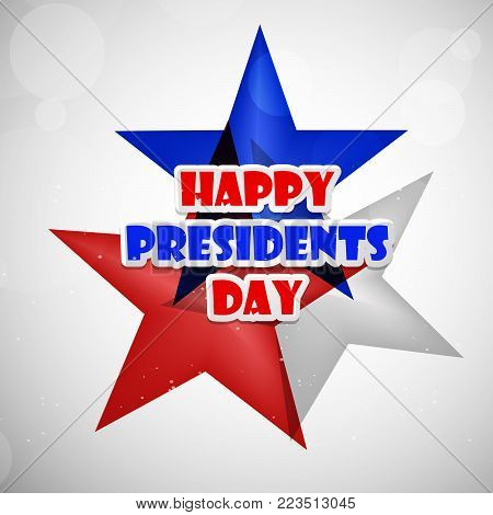 illustration of Happy Presidents Day text on stars background on the occasion of Presidents Day