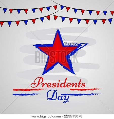illustration of star and decoration with Presidents Day text on the occasion of Presidents Day