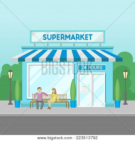 Facade of supermarket building, 24 hour, front view of city house cartoon vector Illustration on a white background