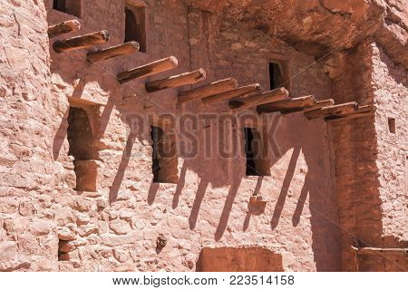 Manitou Springs, CO/USA - Circa September 2016: Support beams of the homes at the Manitou Cliff Dwellings in Manitou Springs, Colorado.