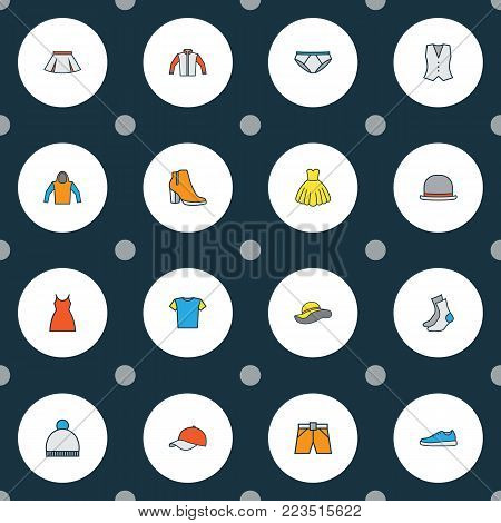 Dress icons colored line set with beanie, evening gown, vest and other panties elements. Isolated  illustration dress icons.