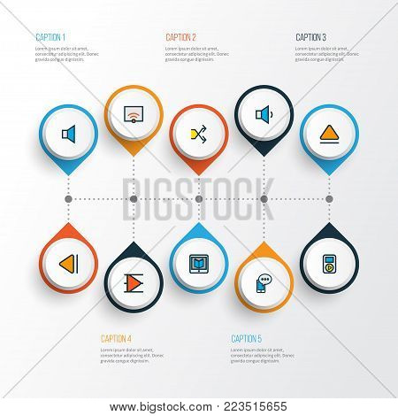 Multimedia icons colored line set with volume down, previous, top and other signal elements. Isolated  illustration multimedia icons.