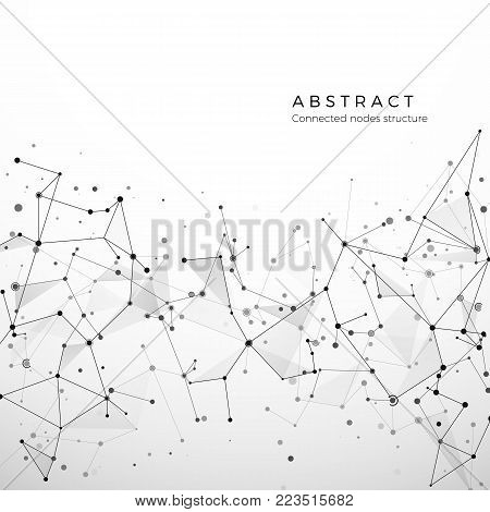 Abstract plexus structure of digital data, web and node. Particles and dots connection. Atom and molecule concept. Geometric polygonal medical background. Intricacy network. Vector illustration