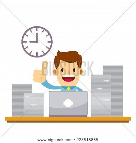 Vector stock of a happy businessman working late night overtime using laptop with pile of paperwork