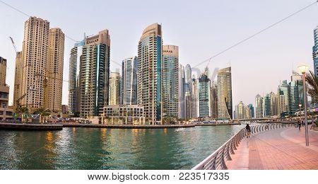 Dubai, United Arab Emirates - November 4, 2017: Dubai Marina Pan