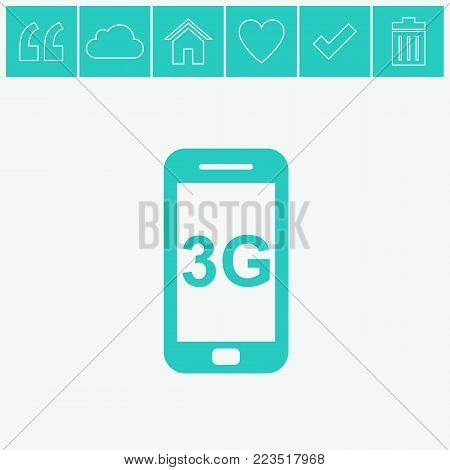 Smartphone vector icon. 3G vector flat icon on gray background.
