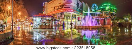 SOCHI, RUSSIA - JANUARY 11, 2018: Singing fountain in the rainlook extraordinary and more sonorous.