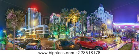 SOCHI, RUSSIA - JANUARY 11, 2018: Night view of the central district of the city