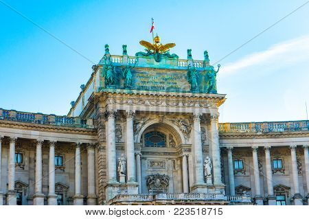 Detail bottom view of facade of the Neue Burg, part of Hofburg Imperial Palace, from Burggarten - Court garden side
