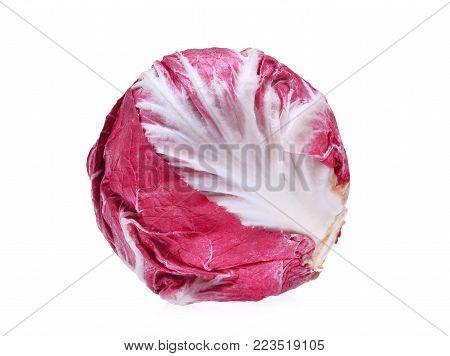 red salad (radicchio) organic vegetable isolated on white background