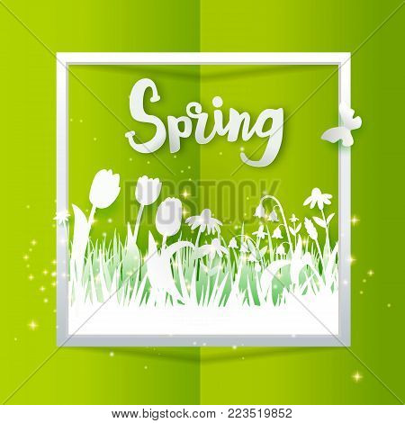 Hello Spring text with meadow with flowers on green background. Grass, tulips and chamomiles cut out from paper. Vector illustration. Season banner with place for text. Paper art. Vector illustration