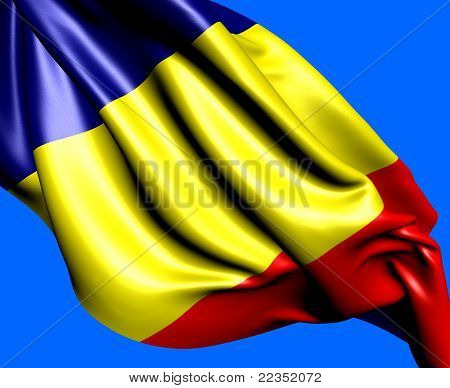Flag of Romania against blue background. Close up. poster