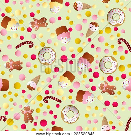 Seamless pattern with ice lolly, cookies, donuts with cream, cupcakes, bonbon and sprinkles with smile faces and colorful round candy on a light monochromatic background