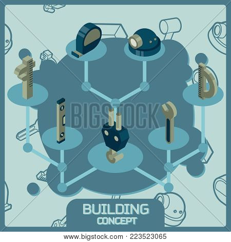 Building color concept isometric icons. Vector illustration, EPS 10