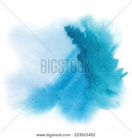 Abstract watercolor hand painted background. Blue spot. Abstract  background. Hand painted watercolor splash. Iink stain. Bright splash of ink on a white background. White background and the blob.