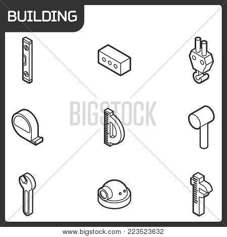 Building outline isometric icons. Vector illustration, EPS 10