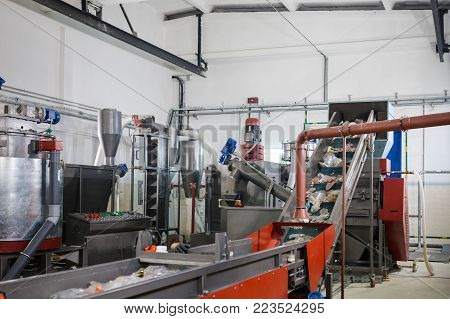 Production Line For The Processing Of Plastic Waste In The Factory
