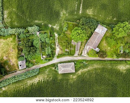 Aerial view of abandoned houses outside of the village of Ginetes on Sao Miguel Island in Portugal.