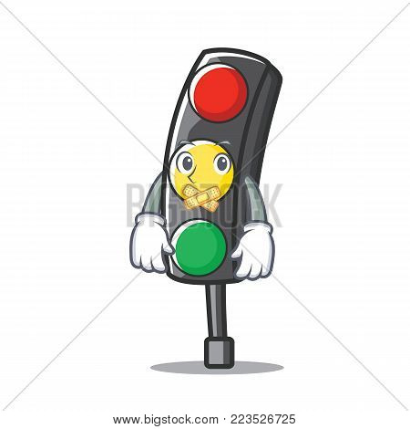 Silent traffic light character cartoon vector illustration