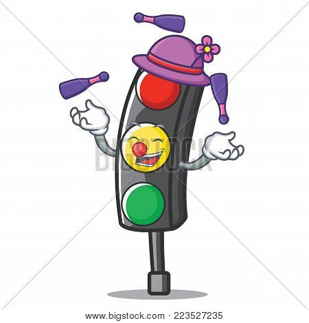 Juggling traffic light character cartoon vector illustration